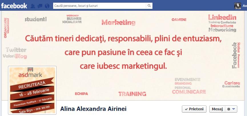 profil facebook coordonator de departament perioada promovare recrutare