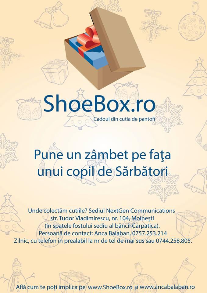campanie shoebox moinesti cadouri in cutii de pantofi de craciun