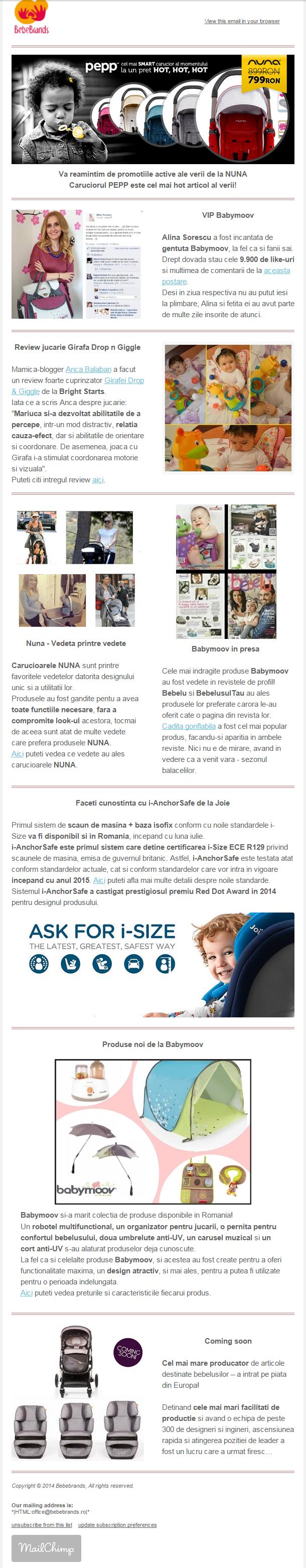 print screen newsletter noutatile lunii iulie bebebrands