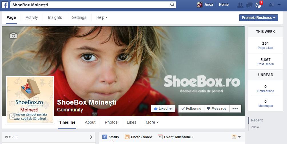 shoebox moinesti facebook statistica paginii dupa 3 zile de campanie
