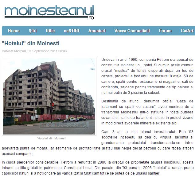 hotelul neterminat din moinesti